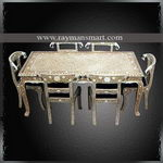 BNTB-001 A CLASSI BONE INLAID FLORAL DINING TABLE SET