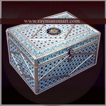 MNBX-134 A BEAUTIFUL MEENAKARI BOX WITH WHITE BASE