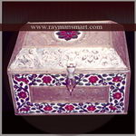 MNBX-145 AN ELEGENT RECTANGULAR MEENAKARI BOX WITH WHITE BASE