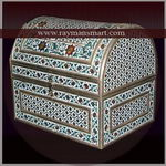 MNBX-255 A PRETTY WHITE BASE HALF ROUND MEENAKARI BOX