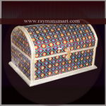 MNBX-276 A PRETTY MULTI COLOURED HALF ROUND MEENAKARI BOX