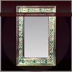 MNFR-011 A LARGE MIROR FRAME IN MEENAKARI WITH SMALL FLOWER