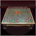 MNFS-017 A MEENAKARI FOOT STOOL WITH BLUE & GREEN COLOUR