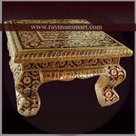 MNFS-085 A DURABLE MEENAKARI FOOTSTOOL WITH GOLDEN TONE