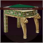 MNST-041 A UNIQUE MEENAKARI STOOL WITH ELEPHANT HEAD