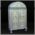 WMAL-015 A ROYAL LOOK WHITE METAL HALF ROUND CABINET