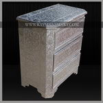 WMAL-022 A HERITAGE LOOK WHITE METAL CHEST OF 3 DRAWERS