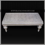 WMTB-088 A HERITAGE LOOK WHITE METAL COFFEE TABLE