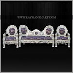 SCSF-046 A SILVER SOFA SET WITH CENTER TABLE AND STOOLS