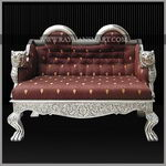 SCSF-048 A BEAUTIFUL SILVER CLADDED SOFA SET