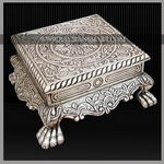 SLFS-006 A SILVER FOOT STOOL WITH EXQUITE CARVING ON TOP