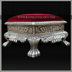 SLFS-063 A HERITAGE LOOK SILVER CARVED FOOT STOOL