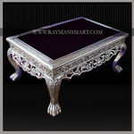 SLTB-003 A ELEGANT CENTRE TABLE WITH PURE SILVER WITH GLASS TOP