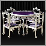 SLTB-013 A BEAUTIFUL SILVER DINING TABLE WITH FOUR CHAIRS
