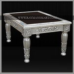 SLTB-016 A ELEGANT PURE SILVER CENTRE TABLE WITH GLASS TOP