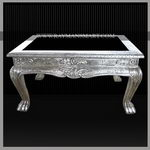 SLTB-020 A ELEGANT PURE SILVER CENTRE TABLE WITH GLASS TOP